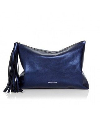 Tassel Clutch Metallic Blue
