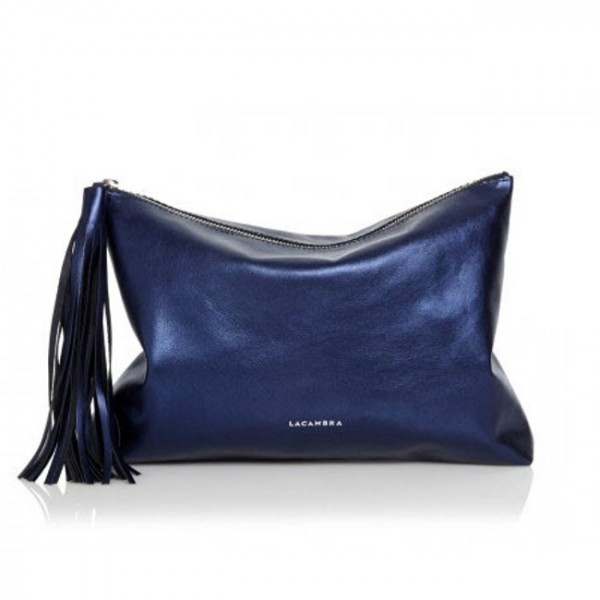 Δερμάτινη Τσάντα Tassel Clutch Metallic Blue - Sisbags.gr 10c141aa4a3