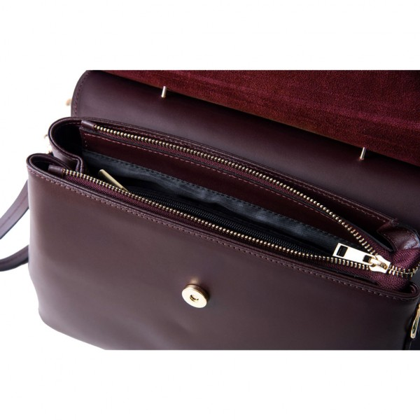 Thita Leather and Suede Handbag Grape