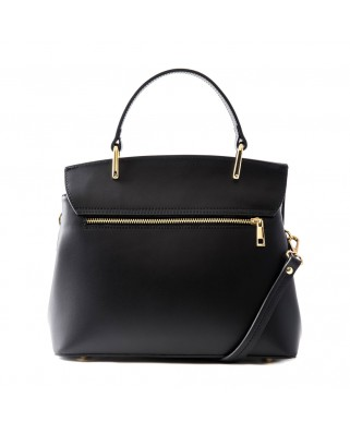 Thita Leather and Suede Handbag Black