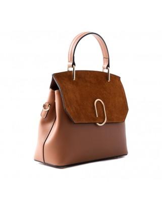 Thita Leather and Suede Handbag Tabac
