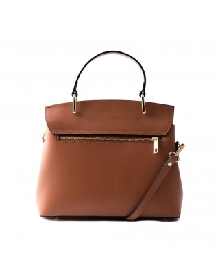 Thita Leather and Suede Handbag Tabac
