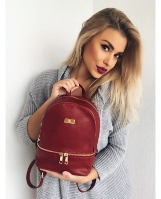 Amelie Leather Backpack red