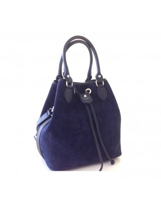Suede δερμάτινη τσάντα ώμου Cerelia μπλε