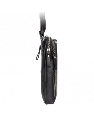 Δερμάτινη τσάντα ώμου Roy (M) - Messenger Bag A5 BLACK