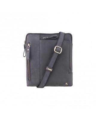Δερμάτινη τσάντα ώμου Roy (M) - Messenger Bag A5 Oil Blue