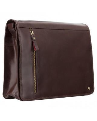 Δερμάτινη τσάντα ώμου Carter - Messenger Bag A4 Brown