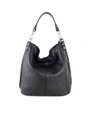 Δερμάτινη τσάντα ώμου Ludmila μαύρη