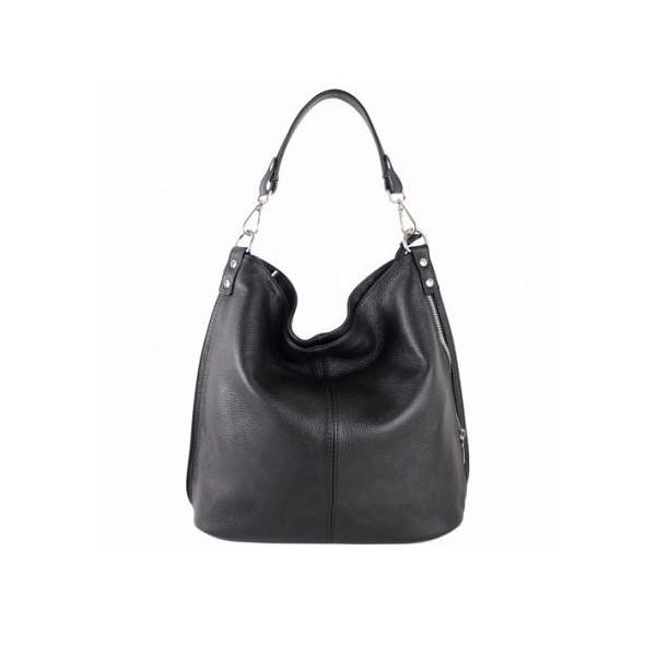 Ludmila Leather Shoulder Bag black