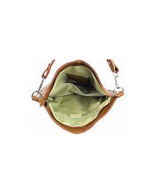 Δερμάτινη τσάντα ώμου Ludmila κονιάκ