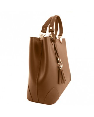 Lucia Leather Handbag tabac