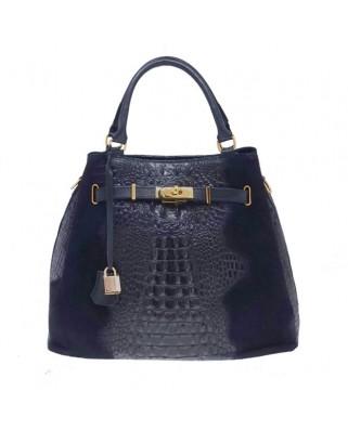 Δερμάτινη τσάντα ώμου - χειρός Aelia μπλε