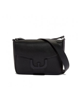 Ambrine Cross black Leather Crossbody Bag