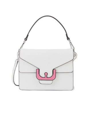 Ambrine Graphic white Leather Crossbody Bag