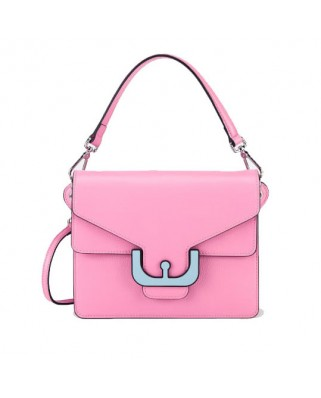 Ambrine Graphic pink Leather Crossbody Bag