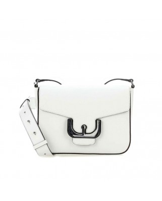 Ambrine Cross white Leather Crossbody Bag