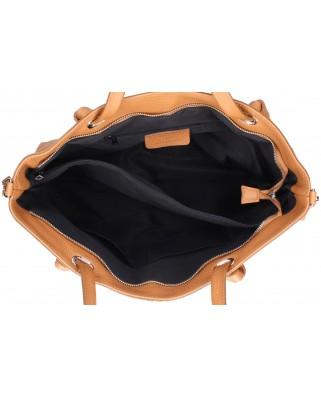 Δερμάτινη τσάντα ώμου χειρός Malve cognac