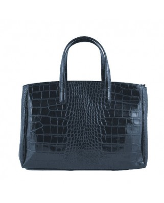 Natalia Croc Leather Handbag Blue