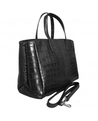 Natalia Croc Leather Handbag Black