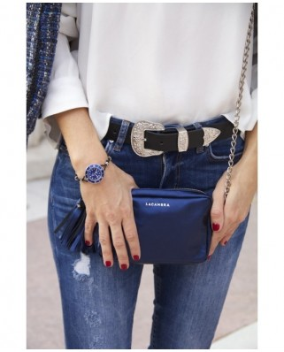 Mini Chic Leather Clutch Metallic Blue