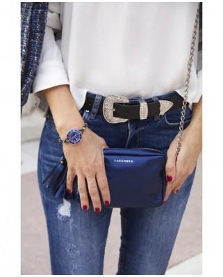 Mini Chic Leather Clutch Metallic Blue