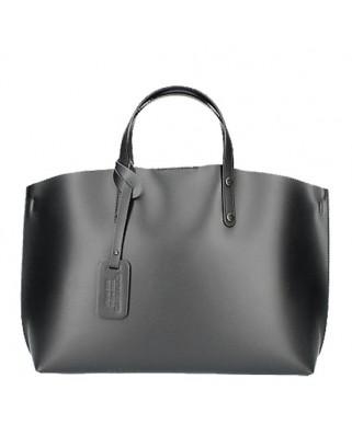 edd3daa19c9 Δερμάτινη τσάντα ώμου - χειρός Casilda μαύρη