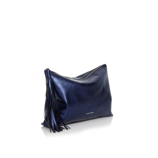 Tassel Clutch Metallic Blue