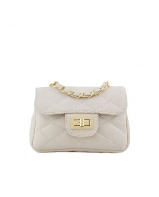 Petra Quilted Leather Shoulder Bag White
