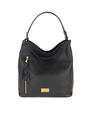 Δερμάτινη τσάντα ώμου Dania μαύρη