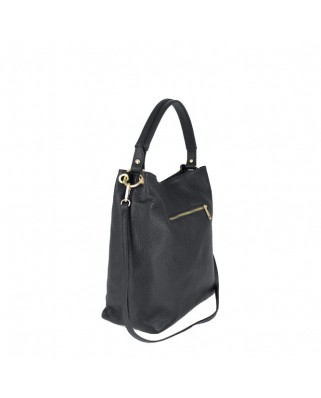Dania Leather Shoulder Bag black
