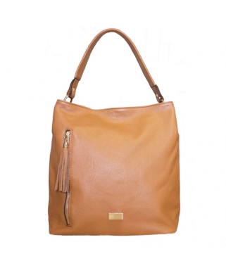 Dania Leather Shoulder Bag tabac