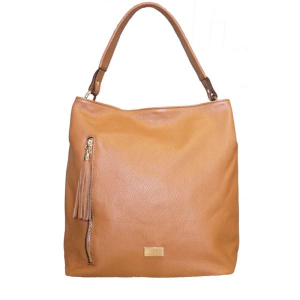 Dania Leather Shoulder Bag tabac