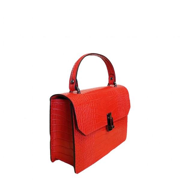 Caelia Croc Leather Bag Red