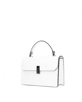 Caelia Croc Leather Bag White