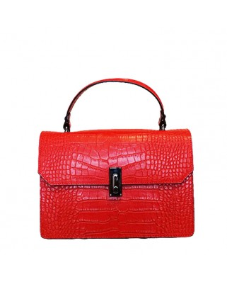 Caelia Croc Leather Bag Red