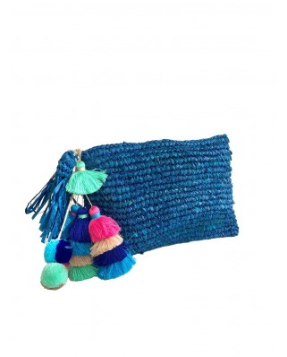 The Straw Pom Pom Tassel Clutch Navy