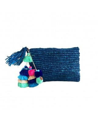 Ψάθινη Τσάντα The Straw Pom Pom Tassel Clutch Navy