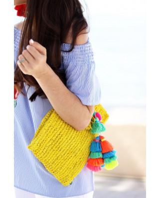 Ψάθινη Τσάντα The Straw Pom Pom Tassel Clutch Navy Yellow