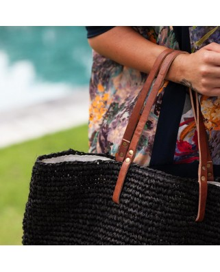 The Straw Beach Bag Black
