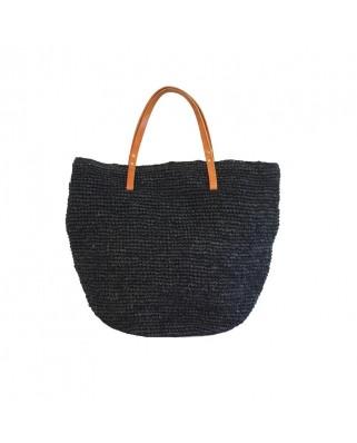 Ψάθινη Τσάντα The Straw Beach Bag Black