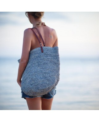 The Straw Beach Bag Soft Grey