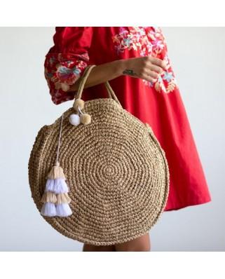 Ψάθινη Τσάντα The Round Straw Bag Sand