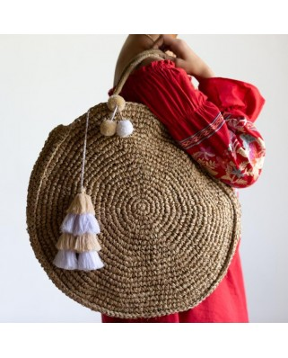 The Round Straw Bag Sand