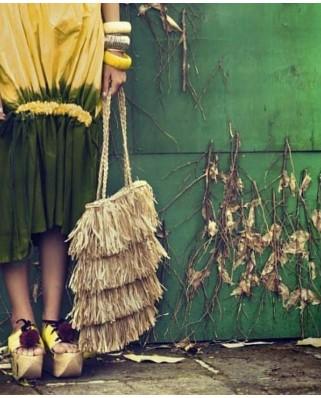 Ψάθινη Τσάντα The Straw Fringe Bag Sand