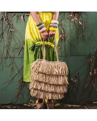 The Straw Fringe Bag Sand