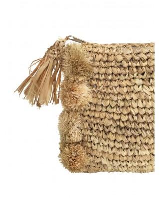 Ψάθινη Τσάντα The Pom Pom Clutch