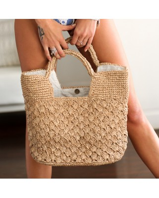 The Straw Woven Grace Tote Sand
