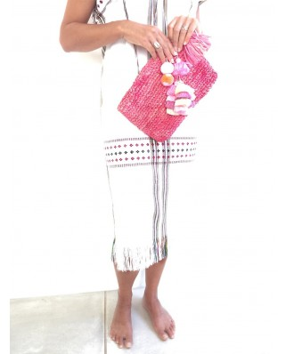 The Straw Woven Clutch Pink