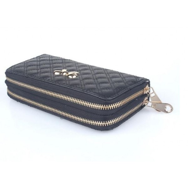 Bow double purse black