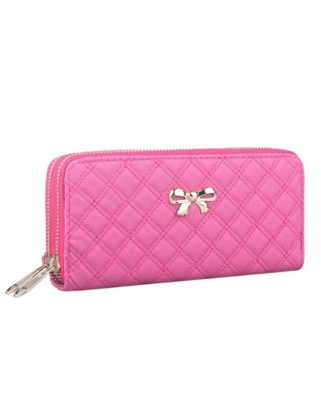 Bow double purse fuchsia